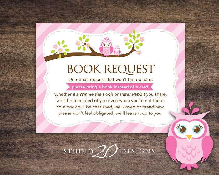 Instant Download Pink Owl Book Request for Girl, Pink Brown Owl Book in Lieu of Card, Owl Theme Baby Shower Book Instead of Card 23E by Studio20Designs on Etsy https://www.etsy.com/listing/215729006/instant-download-pink-owl-book-request