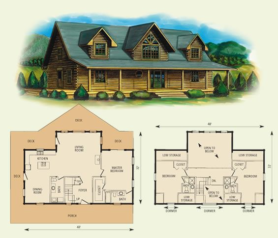 Fair oaks log home and log cabin floor plan 2084sf main for Upstairs plans