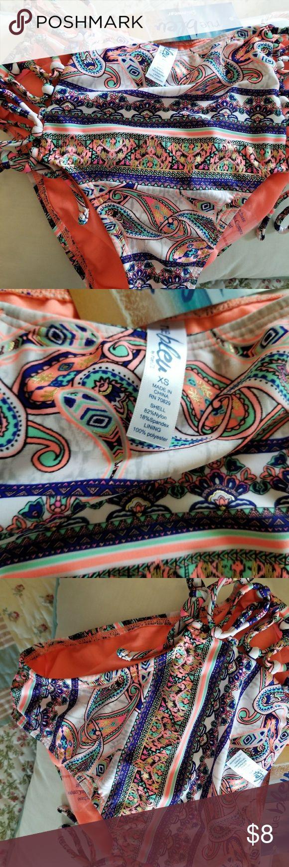 Coral & Cobalt High Waist Bikini Swimsuit Bottom Bleu absulutlely Gorgeous High Waist Bikini Bottom Swimsuit Bottom with side lacing detail in coral, royal blue, white and metallic gold accents. Resort season is near...kill it in this swim bottom. bleu by Rue 21 Swim Bikinis