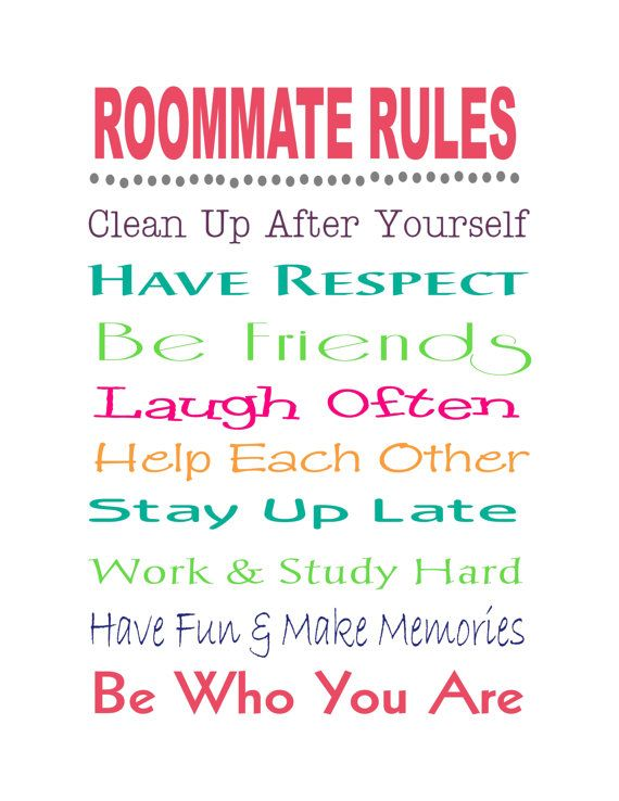 Graduation Gift - ROOMMATE RULES - Wood Signs, Prints, Canvas