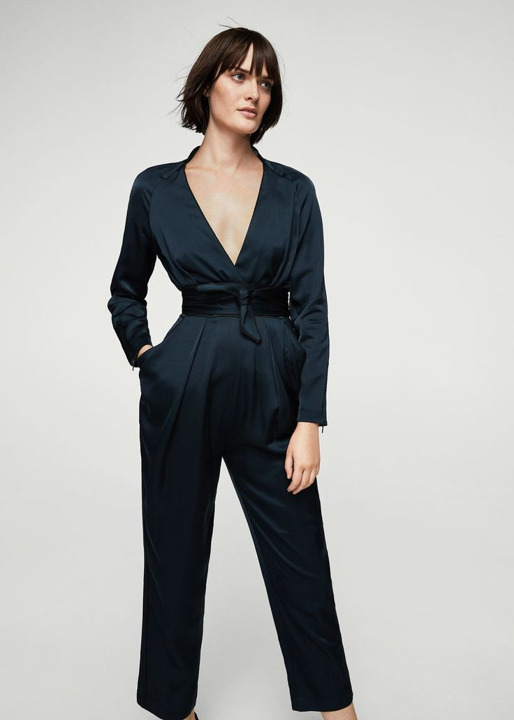 Wrap neckline satin jumpsuit - Woman | MANGO Greece