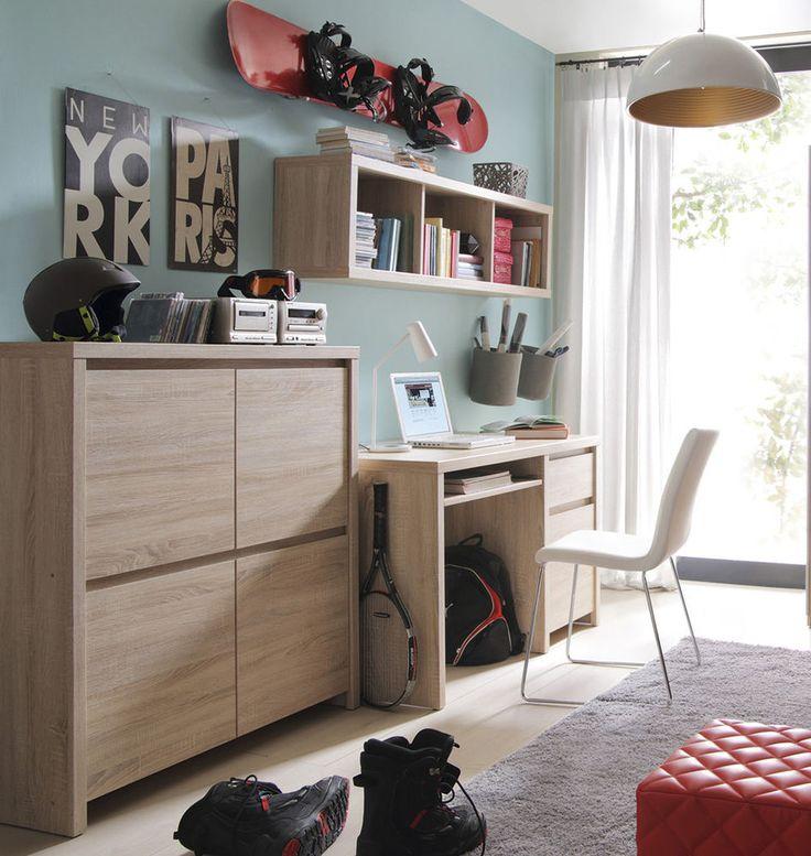 Home Office/Study Furniture Set Wood Effect | Desk & Sideboard & Shelf KASPIAN