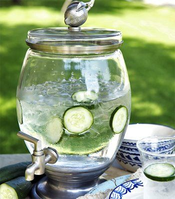 I make this at every party I give.  It's a way to offer water at parties that will refresh a lot of people.  I use a big mexican jug I bought at Walmart.  Cut up 3 cucumbers, 2 lemons, and a few sprigs of mint if you like.  Add a bag of ice and water.  People love this water and always comment on how refreshing it is. Plus, NO SUGAR!  I always pair this with another identical jug of homemade lemonade. They are so pretty!