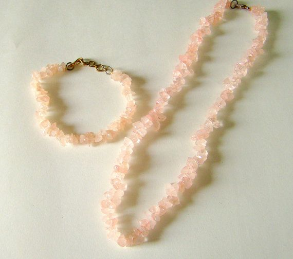 Necklace & Bracelet Set Rose Quartz Crystal Chips 100% Natural Authentic Certified Gemstone Single Strand Yoga India Chakra Balance Spirit