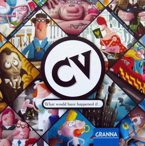 """""""CV"""" means curriculum vitae – your resume – and in the dice and card game CV you will lead a character through his entire life, making many choices about friends, relations, jobs and activities. Everything is possible: a dream job, new relationships and skills. You can be whoever you want!"""