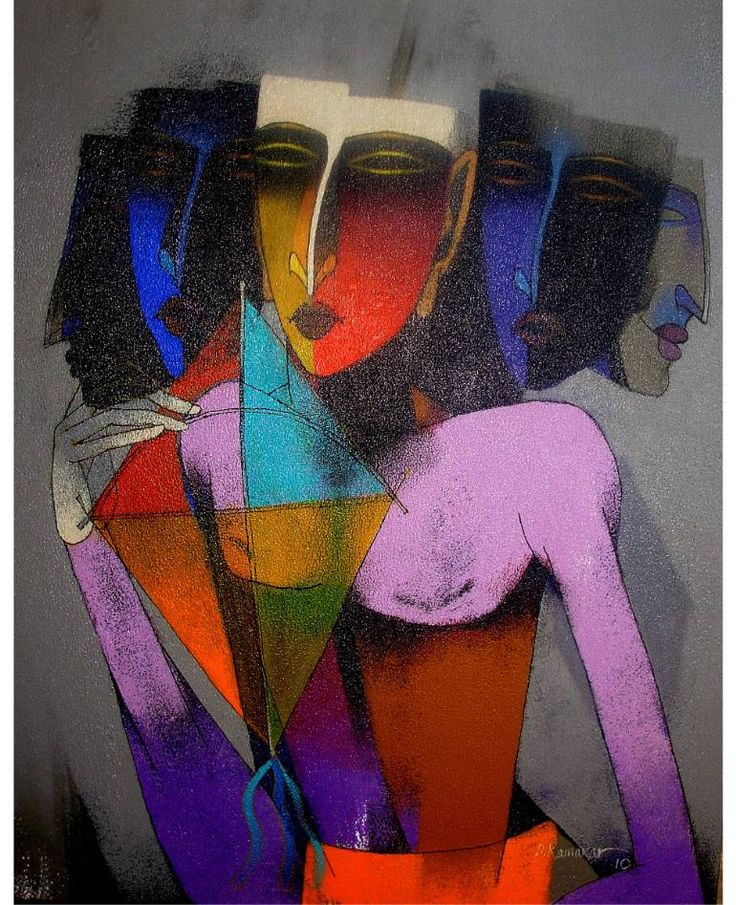 Boys with Kite, by Dayanand Kamakar-colour rolled on canvas and outline draw
