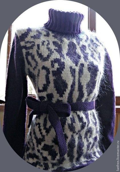 Sweater Knitting, purple leopard print. Les Copains inspired.  Кофты и свитера ручной работы. Ярмарка Мастеров - ручная работа Свитер Леопардовый. Handmade.