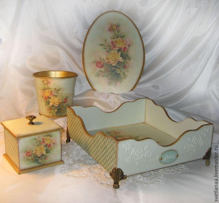 """Купить Набор интерьерный для кухни""""Rose"""" - набор для кухни, поднос для кухни, горошек, розы, кашпо, панно"""