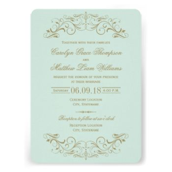 Decorative swirls and flourishes frame this elegant vintage inspired wedding invitation design. Pale pastel mint blue green and antique gold color scheme. Personalize the custom text for your marriage ceremony and reception. #wedding #vintage #elegant #swirl #scroll #flourish #wedding #collections #filigree #ornate #decorative #chic #template #design