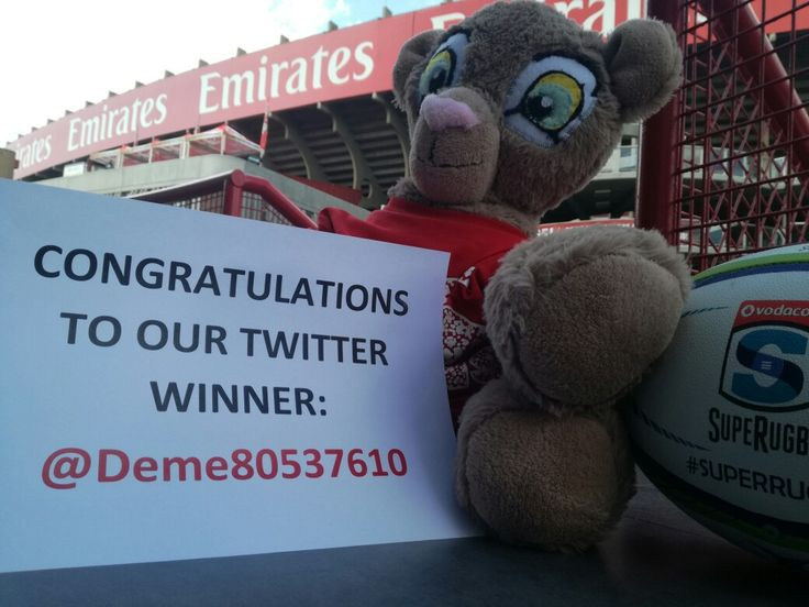 Congratulations to @Deme80537610 who won two tickets to Saturday's game at Emirates Airline Park!  #LeyaTheLion #Liontaiment #Lions4Life #SuperRugby #EmiratesLions #BeThere #MyLionsMoment #LionsPride #LIOvSHA
