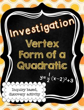 The goal of this activity is for students to observe that  the vertex of a quadratic function can be found from the equation of the function in vertex form and that it is (h, k).  Students should already be familiar with quadratic functions in standard form and parabolas.