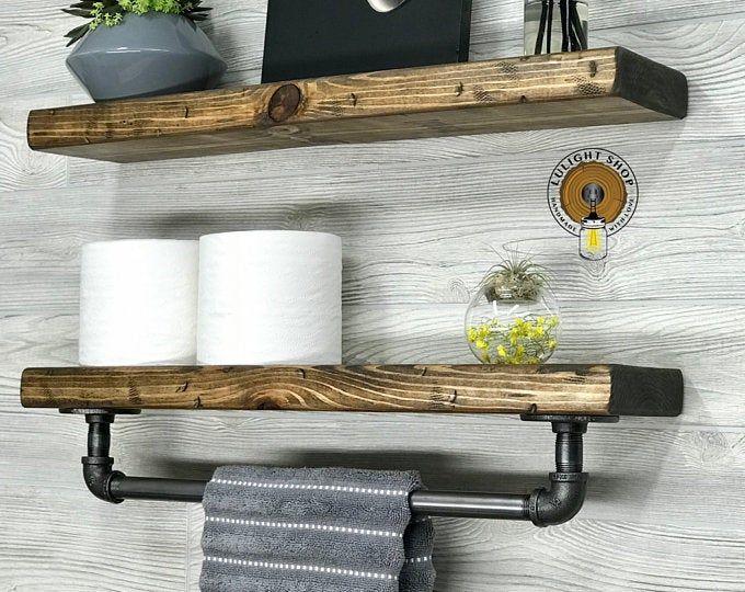 New White Floating Shelves Set Of 2 Bathroom Shelf With Towel Etsy Industrial Wall Shelves Bathroom Wood Shelves Floating Shelves Bathroom
