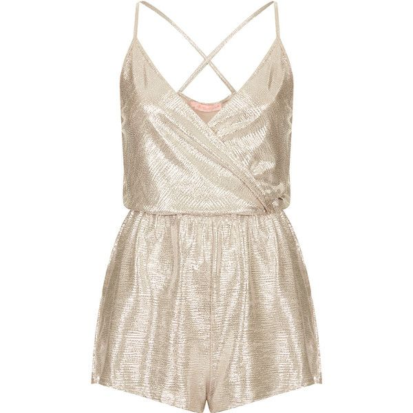 **Wrap Front Playsuit by Oh My Love (£18) ❤ liked on Polyvore featuring jumpsuits, rompers, playsuits, dresses, macacão, silver, playsuit jumpsuit, spaghetti strap jumpsuit, pink romper and spaghetti strap romper