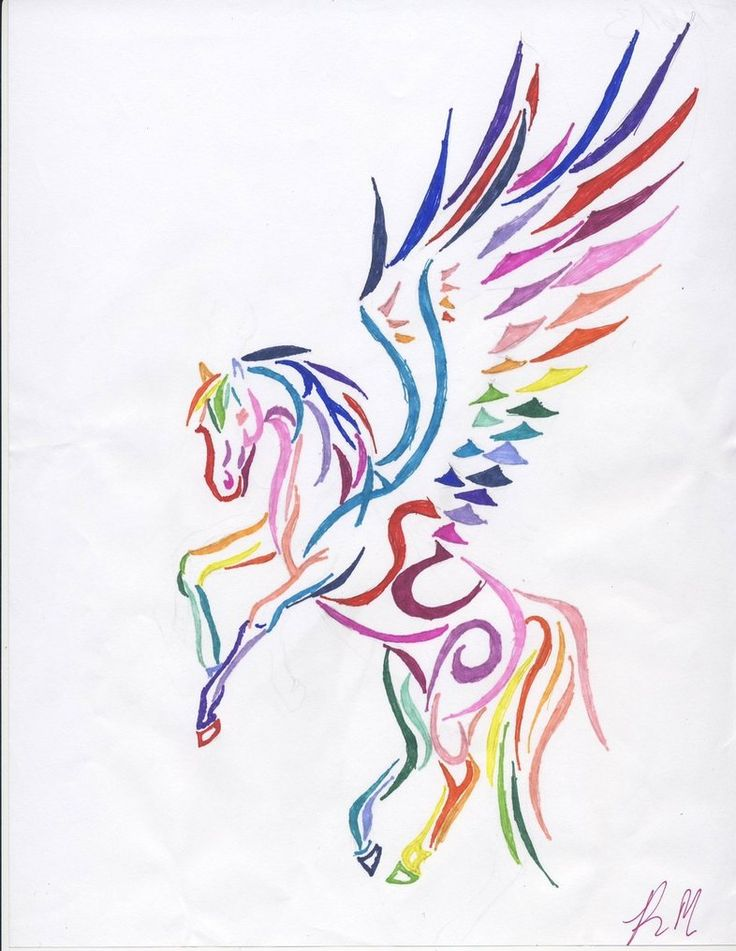 Rainbow Tribal Pegasus by DarkFriesianNight