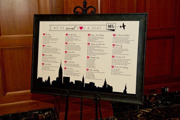 Loved the display for seating....special date locations in New york theme...