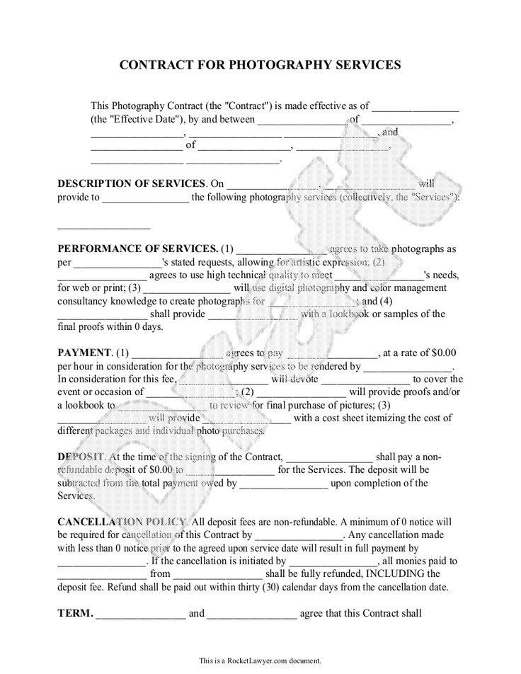 11 best wedding photography contract template images on Pinterest - purchase contract template