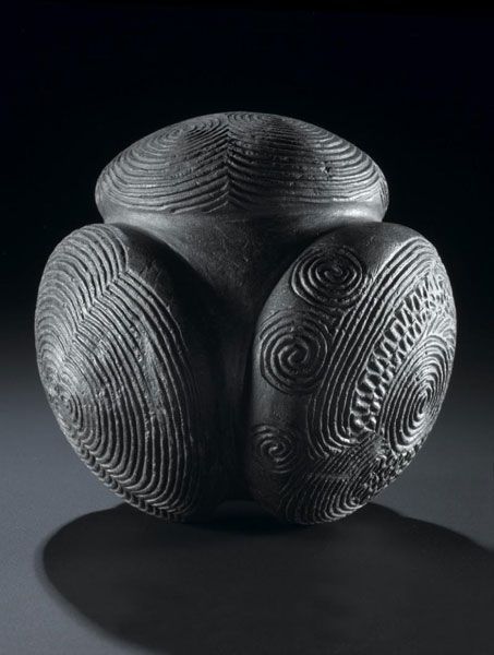 Carved stone ball, Towie, Aberdeenshire, 3200–2500 BC. Nearly all have been found in north-east Scotland, the majority in Aberdeenshire, the fertile land lying to the east of the Grampian Mountains. A similar distribution to that of Pictish symbols led to the early suggestion that Carved Stone Balls are Pictish artefacts. No one really knows what they were for, but they are at least very pretty!