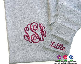 Embroidered Big Little Sorority T-Shirt Long Sleeve Monogrammed Pocket ~ Lots of Colors ~ Unisex Personalized Monogram ~ S M L XL 2XL 3XL