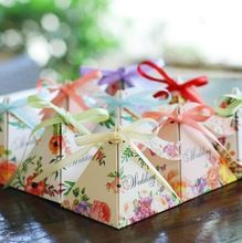 50 pçs/lote 20 Cores para escolher Novo 2017 Frete grátis triangular flor caixa do favor caixa de doces do casamento da fita suprimentos(China (Mainland))