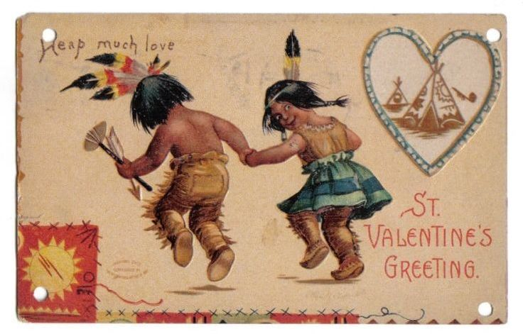 Indian Boy & Girl Holding Hands Dancing~A/S Clapsaddle~Valentine~1908 #ValentinesDay
