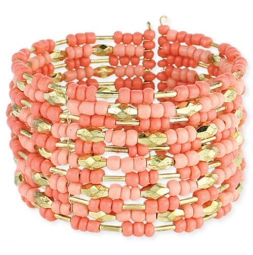 Beaded Cuff Bracelet in coral, salmon, and gold!