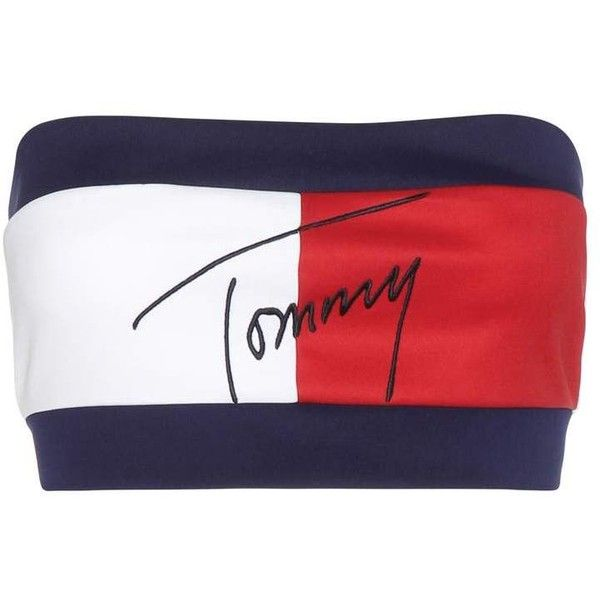 Tommy Hilfiger Flag Embroidered Bandeau Top ($152) ❤ liked on Polyvore featuring tops, underwear, red top, tommy hilfiger, red embroidered top, bandeau tops and embroidery top