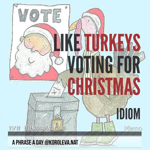 Like turkeys voting for Christmas (idiom)- if people are like turkeys voting for Christmas, they choose to accept a situation which will have very bad results for them. (Turkeys are large birds which are often eaten on Christmas Day.) Teachers agreeing to even larger class sizes would be like turkeys voting for Christmas. (букв. как индейки, голосующие за Рождество; навряд ли, сомнительно (жареная индейка - традиционное блюдо на рождественском столе). У индеек есть причины не голосовать.
