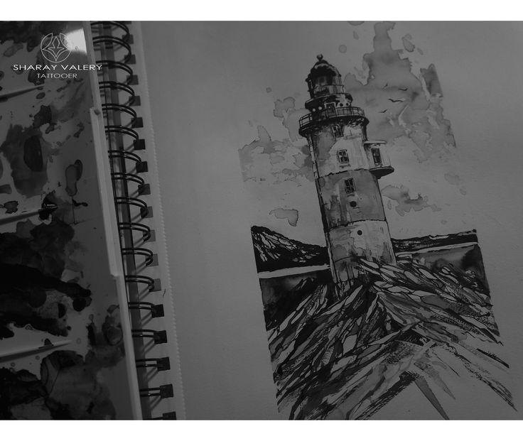 Sketchbook, lighthouse art, black and white.