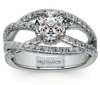 Double Cross Split Shank Diamond Engagement Ring in White Gold