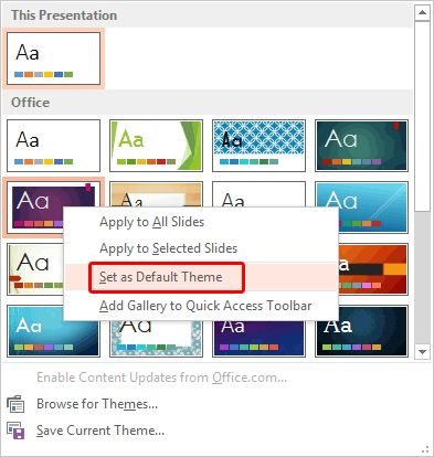 Learn how to change the default template or Theme in #PowerPoint 2013.