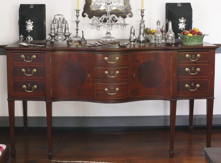 FEDERAL INLAID AND HIGHLY FIGURED MAHOGANY SERPENTINE-FRONT SIDEBOARD, ATTRIBUTED TO JOHN SHAW, ANNAPOLIS, MARYLAND, CIRCA 1795