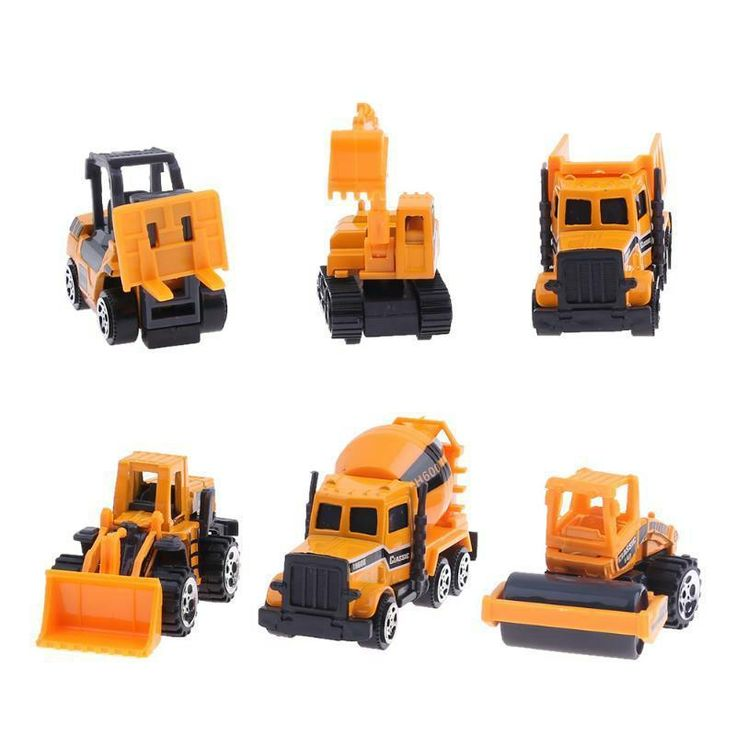 6pcs/set Mixed Alloy Engineering Vehicle Car Model Children Educational Toys Kid #JOCESTYLE