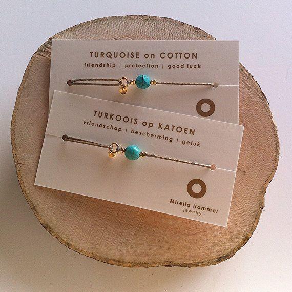 Turquesa de algodón - piedras preciosas pulsera de la amistad - sanación cristal…