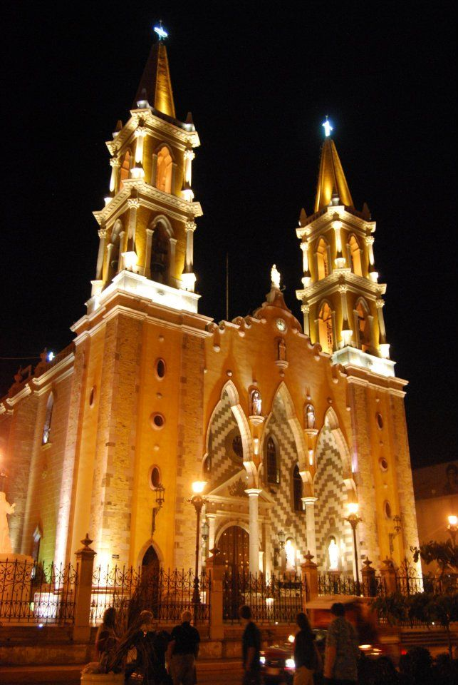 Mazatlan Cathedral at night, Mazatlan, Mexico: where I was christened