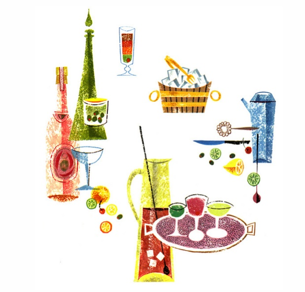 """Spot illustrations from """"Say When"""" complimentary booklet, W & A. Gibley (Canada ) Ltd. 1959. Illustrator unknown."""