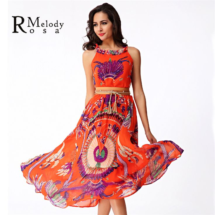 2016 Women's Bohemian Dresses Hawaii Holiday Style Sun Flower Floral Printed Summer Women Beach Dress MLXL(R.Melody YHM010) *** Read more at the image link.