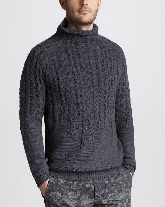 Стильный мужской свитер спицами. Схема модного свитера для мужчины