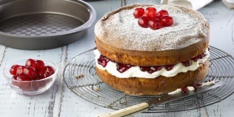 By replacing flour with marzipan this easy cherry bakewell cake, developed by Great British Bake Off contestant Cathryn Dresser, stays moist and incredibly light.