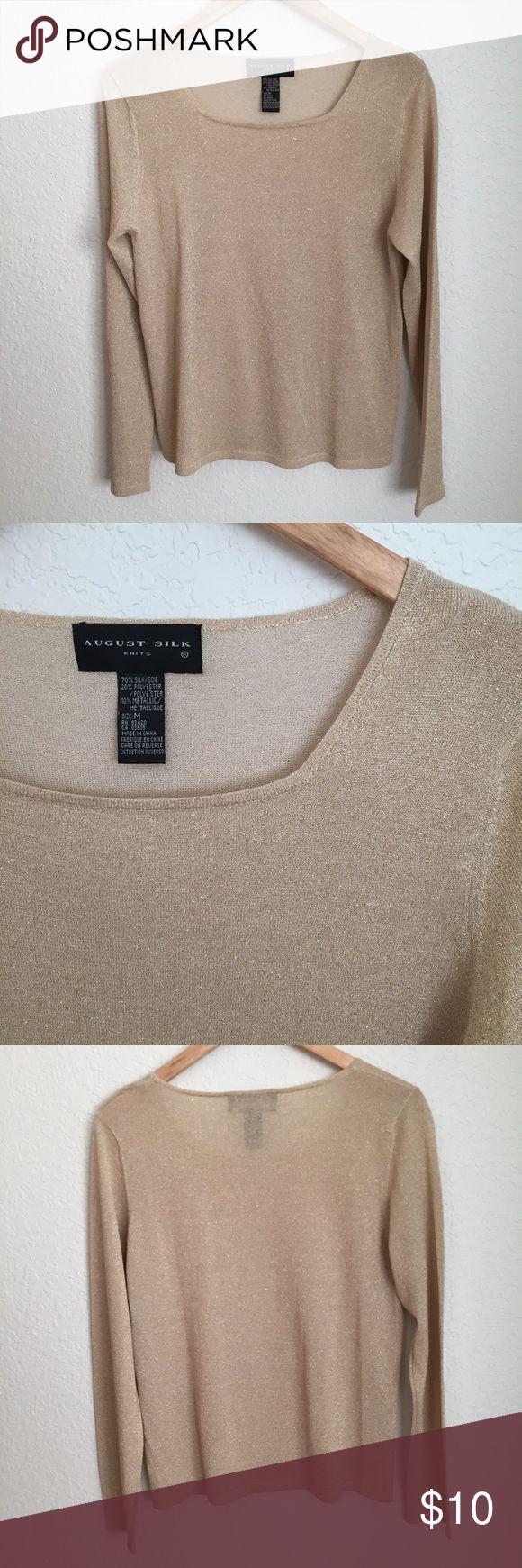 August Silk shimmery long sleeve top Pretty shimmery gold long sleeve top from August Silk. 70% silk, 20% polyester, 10% metallic. august silk Tops Tees - Long Sleeve