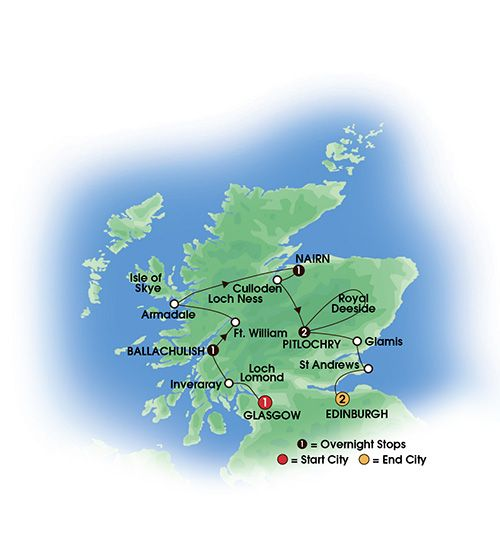 2015 SCOTTISH DREAM 8 Day Tour Superior First Class Hotels - 7 Nts/13 Meals. Overnights: 1 Glasgow, 1 Ballachulish, 1 Nairn, 2 Pitlochry, 2 Edinburgh