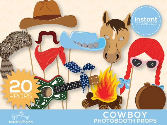 Giddy up! Your photos will be ready for the frontier with this fun set of cowboy themed photo booth props. This is a DIY printable set of props -