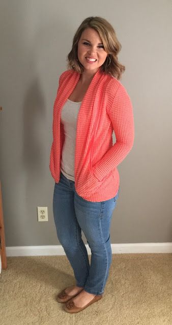 I like the unique waffle knit of this cardigan and would definitely like to try this piece or something very similar!