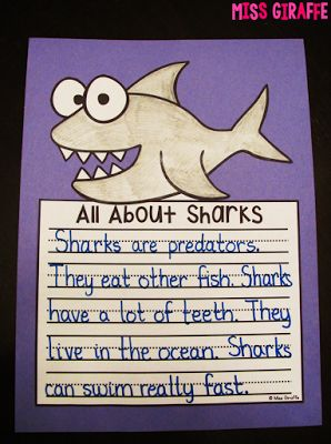 Sharks writing craft and dozens of other fun writing crafts that are zero prep - kids write, color, cut, glue and it's an instant bulletin board! SAVE THIS LINK!!