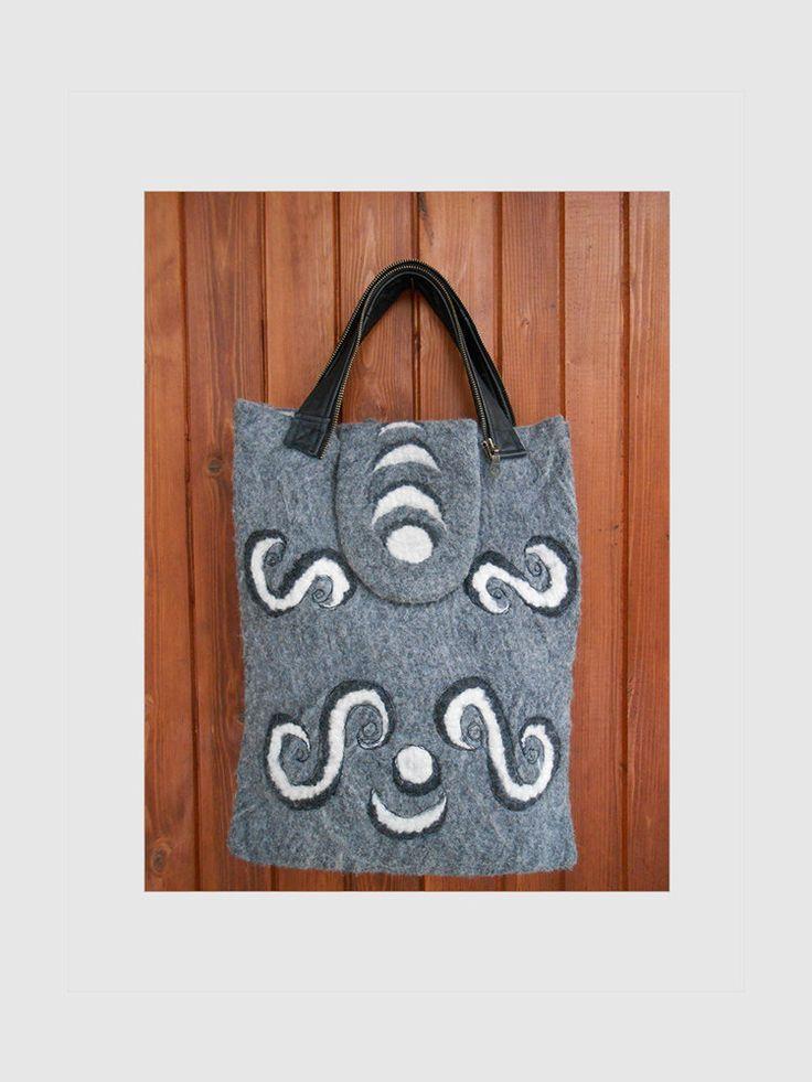 Felt Bag Everyday bag Hobo bag Felted Women bag Gray bag Leather strap bag Wool gray bag Embroidery bag Art bag Gift for her Felt wool by BuriFelt on Etsy