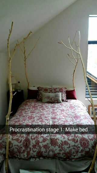 Different version of my bed. Tree four poster bed red and cream decorating colour scheme
