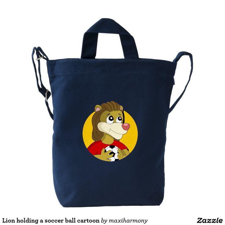 Lion holding a soccer ball cartoon duck canvas bag