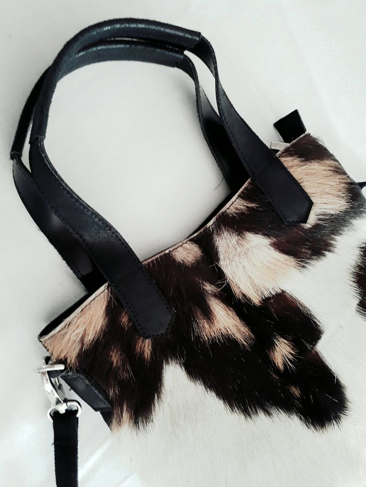 Cowhide Bag White black and Brown Cow Fur Bag - Cow Bag - Cow Leather - shoulder bag and top handles by CHICNJOY on Etsy