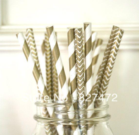 100pcs Gold chevron / stripes Straws Biodegradable paper Drinking birthday  wedding event & party decoration $10.59