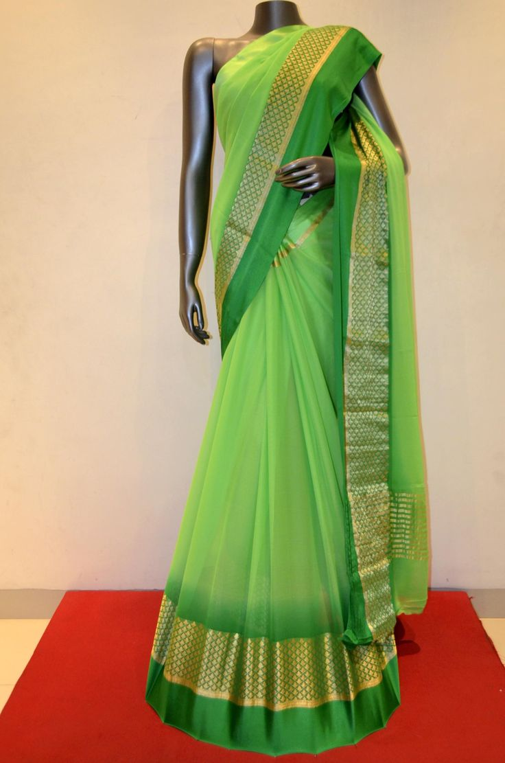 Exquisite Fluorescent Green Georgette Silk With Designer Zari and Satin Border Product Code: AB211185 Online Shopping: http://www.janardhanasilk.com/index.php?route=product/product&search=AB211185&description=true&product_id=3808