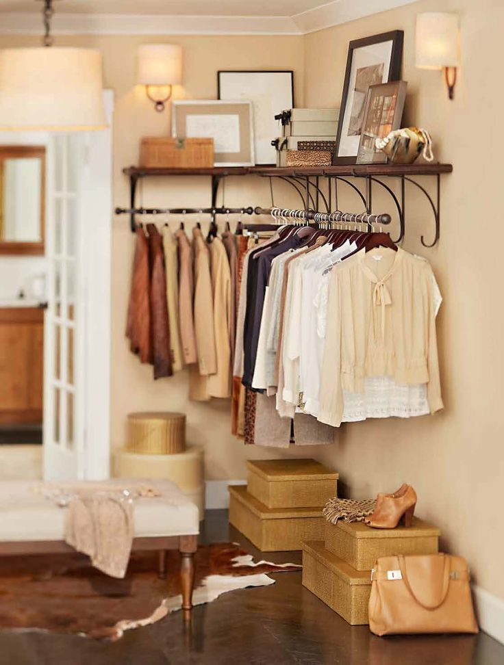 Well organized style closets pinterest beautiful for Small bedroom no closet